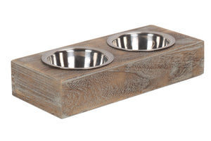 WOODEN DOG FEEDING STATION