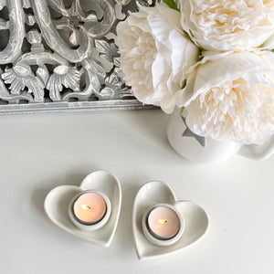 WHITE HEART TEA LIGHT