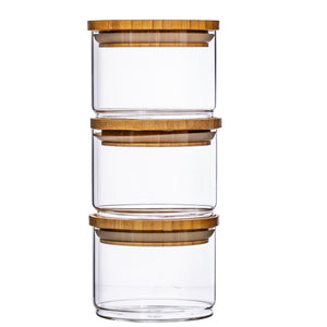 STACKING GLASS JARS