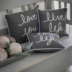GREY SLOGAN CUSHION