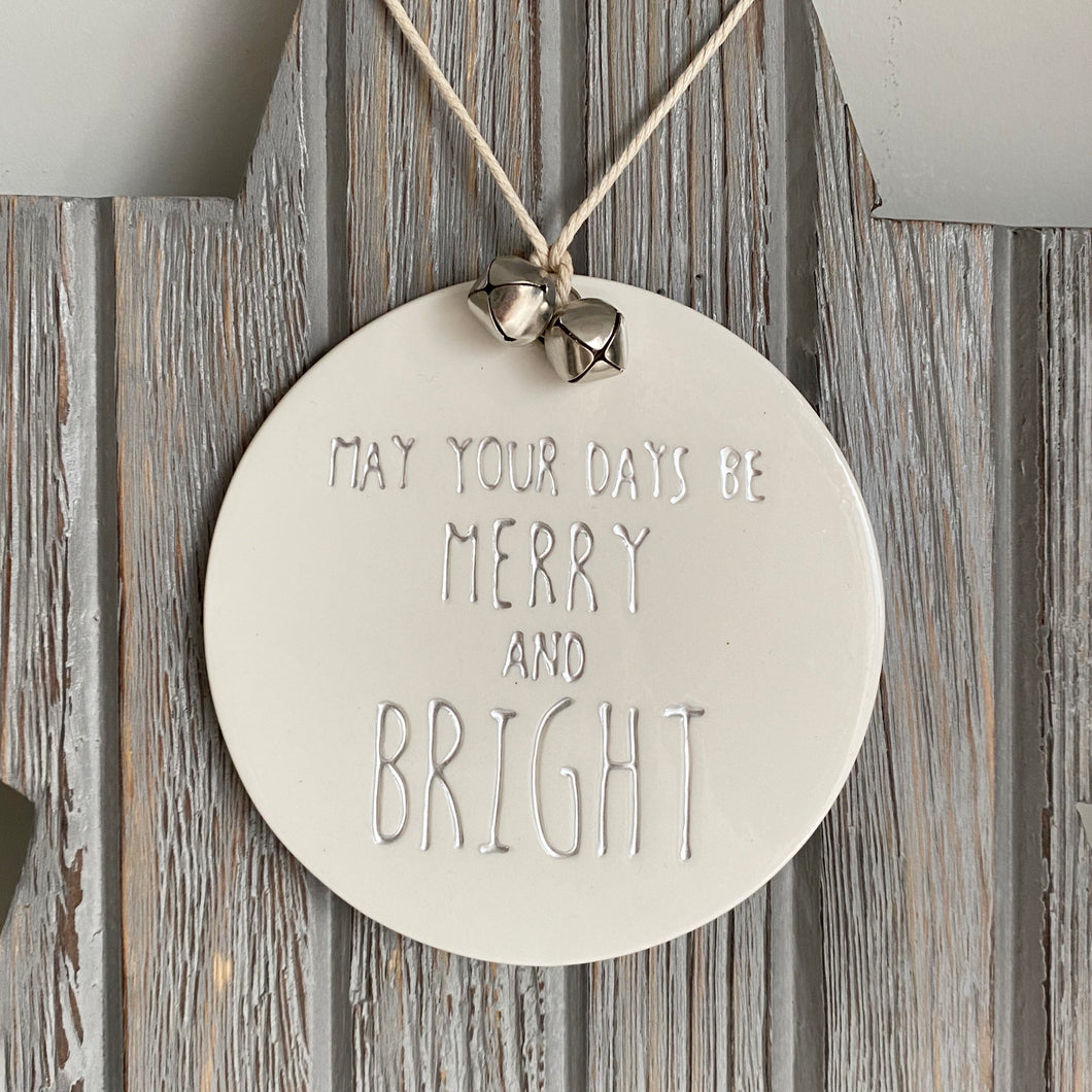 MERRY & BRIGHT PORCELAIN SIGN