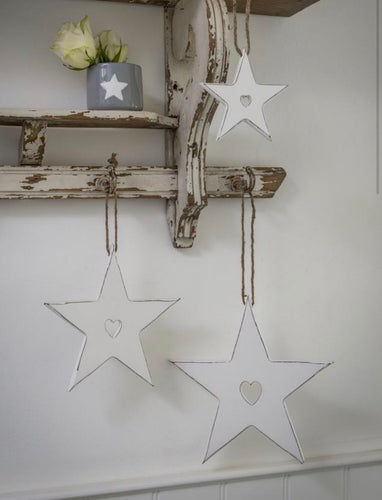 WHITE STAR WITH HEART CUTOUT