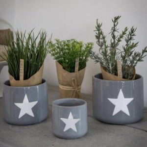 SET OF 3 CERAMIC POTS