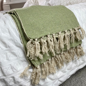 GREEN CHEVRON THROW
