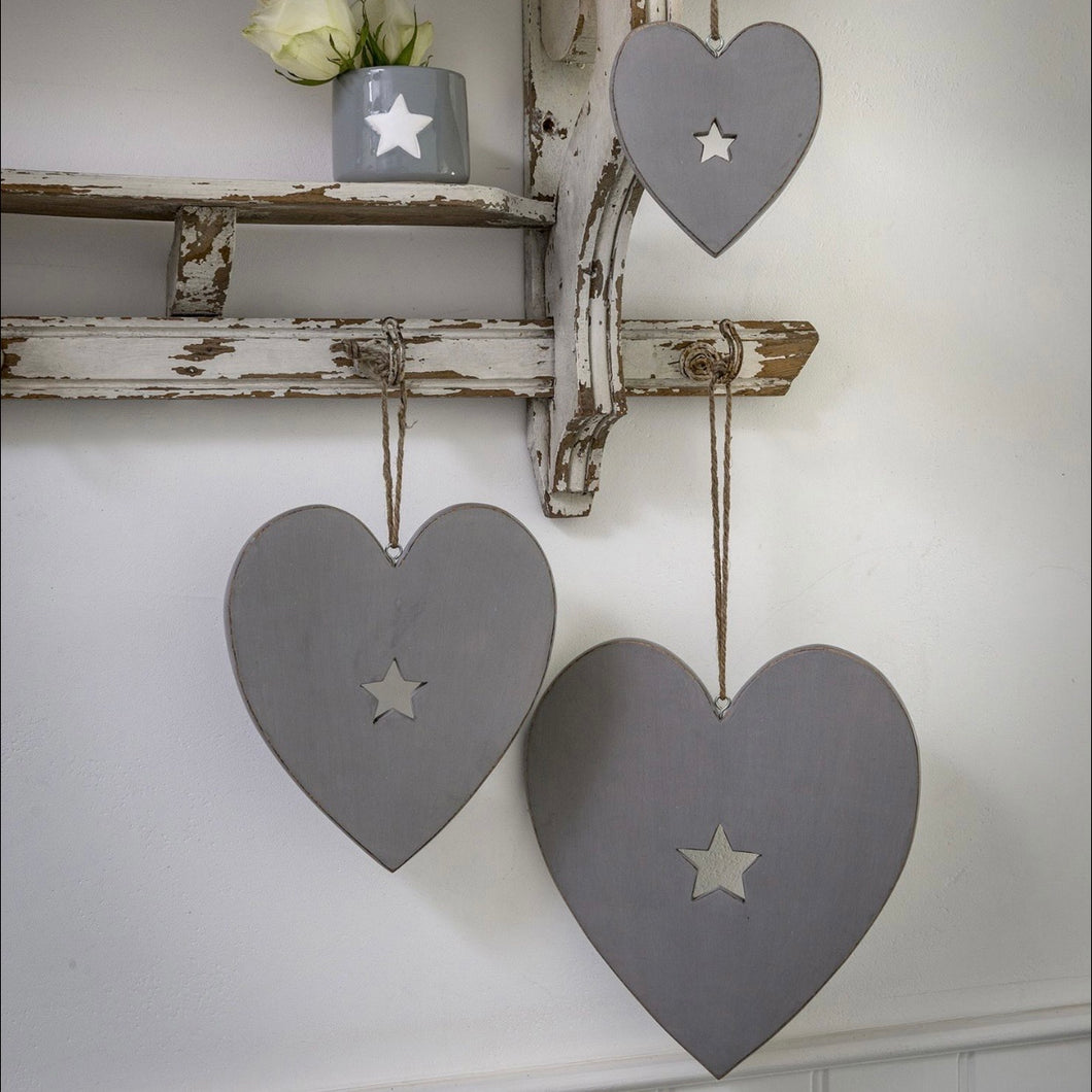 GREY HEART WITH STAR CUTOUT