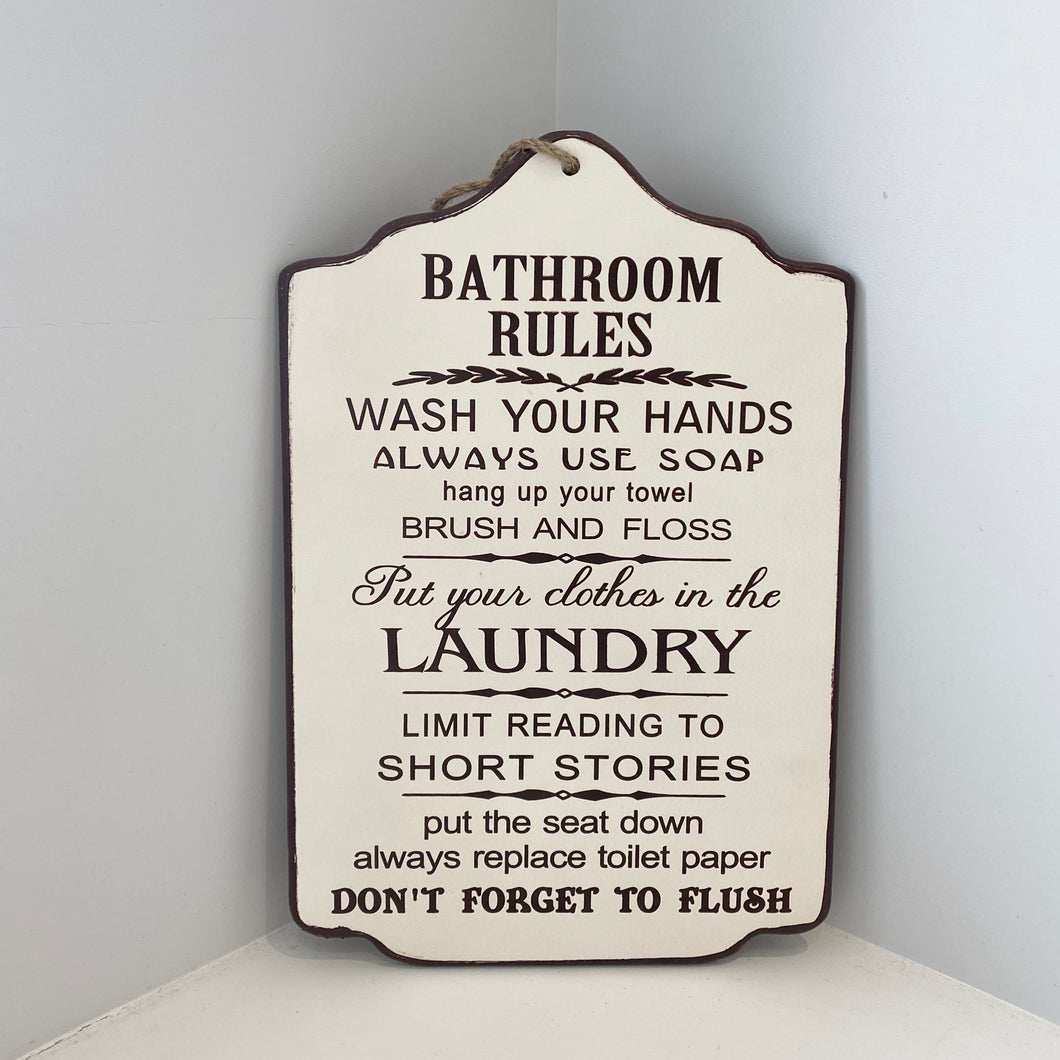 LARGE BATHROOM RULES PLAQUE