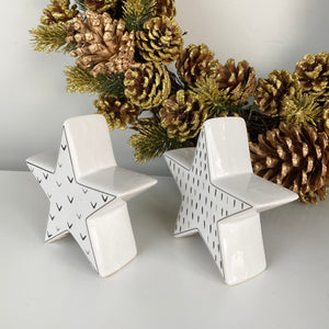 BLACK & WHITE CERAMIC STARS