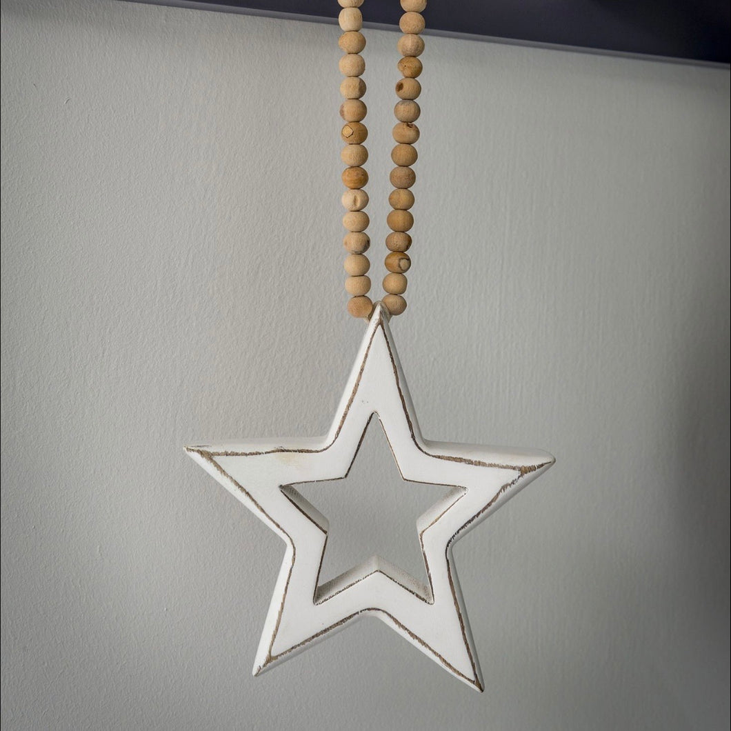 WOODEN BEADED STAR