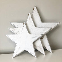 Load image into Gallery viewer, VINTAGE WHITE WOODEN STARS