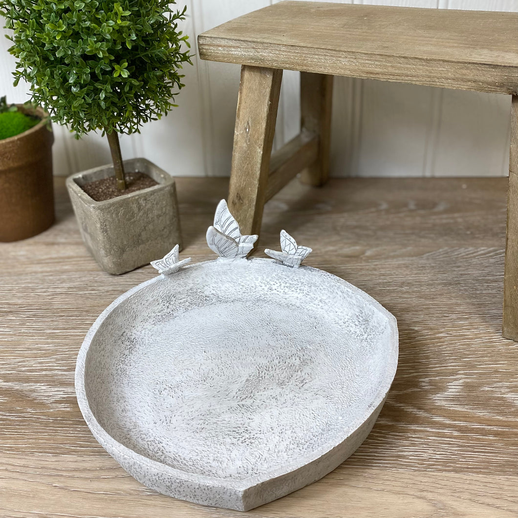 GREY BUTTERFLY BIRD BATH