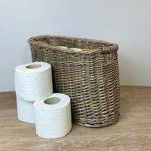 Load image into Gallery viewer, WICKER OVAL TOILET ROLL BASKET