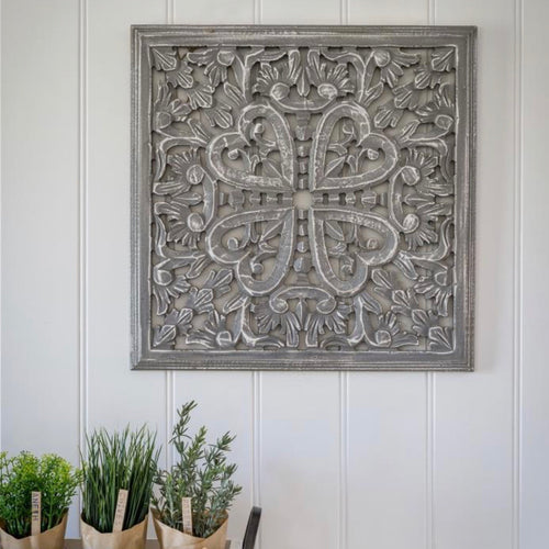 GREY SQUARE HEART PANEL