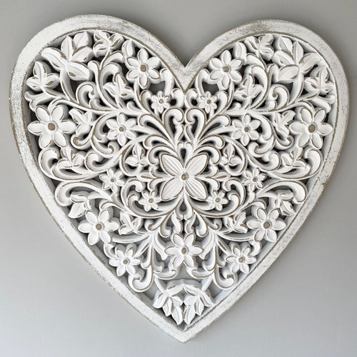 WHITE ORNATE WALL HEART