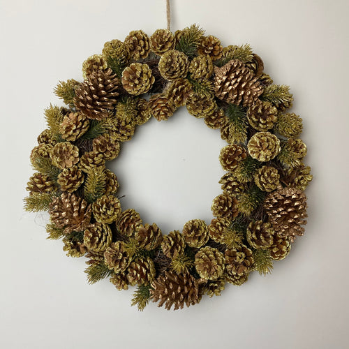 GOLD PINECONE WREATH