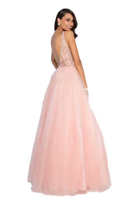 Terani Couture - Beaded Bodice Lace Gown - Pink