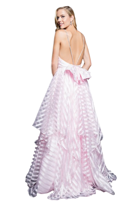 Terani Couture - Striped Ball Gown - Pink