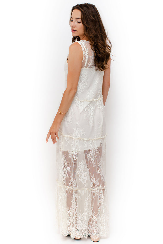 Gold Hawk - Long Lace Sleeveless Dress - Ivory