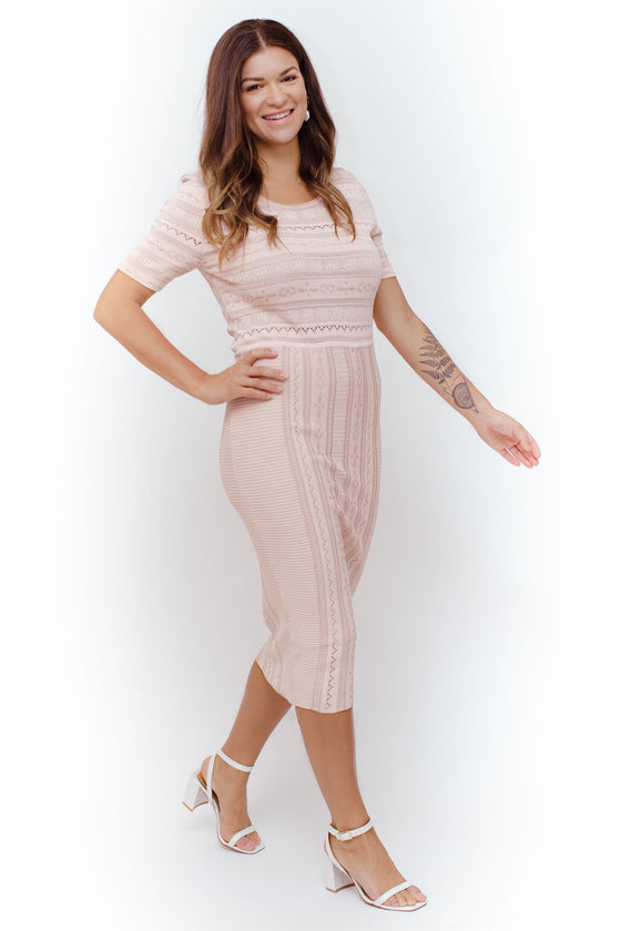 Front Image: fitted light pink, midi dress, high neckline, t-shirt sleeves.