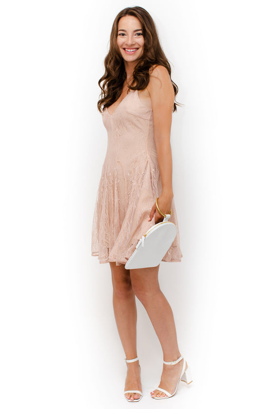 Front Image: flowy, rose pink dress, lace material, skinny straps, midi length, v neckline front and back.  Keepsake brand