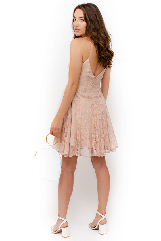 Back Image: flowy, pleated, rose pink dress, lace material, skinny straps, midi length, v neckline front and back.  Keepsake brand