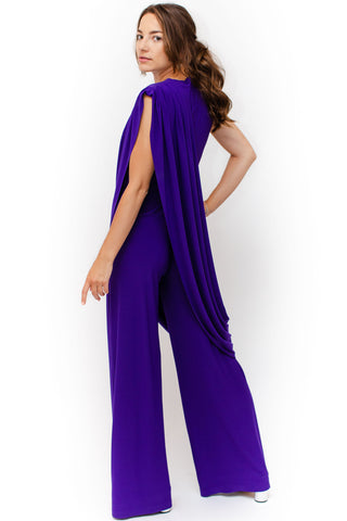 Norma Kamali - Sleeveless Draped Jumpsuit - Purple