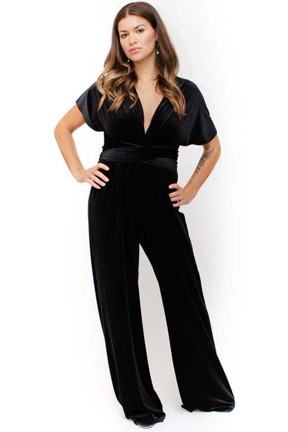 Front Image: black velvet floor length jumpsuit, with convertible top. Showing t-shirt option with v neckline.. Brand Two Birds