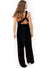 Back Image: black velvet floor length jumpsuit, with convertible top. Brand Two Birds
