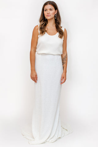 & For Love - Sequin Jagger Skirt - White