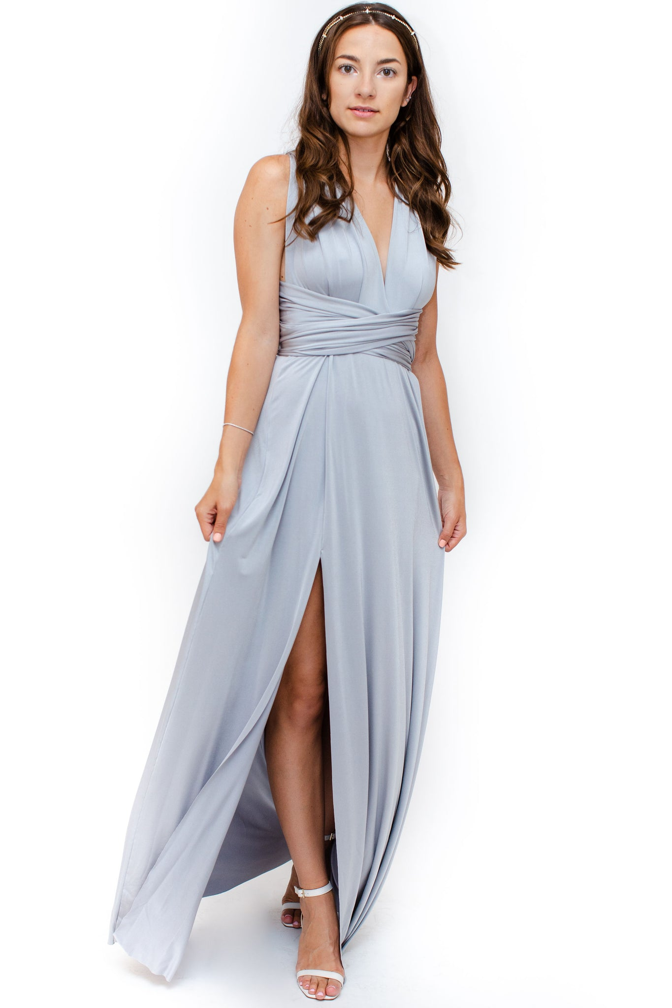 Front Image: Silver floor length dress, side slit, with convertible top. Brand Two Birds