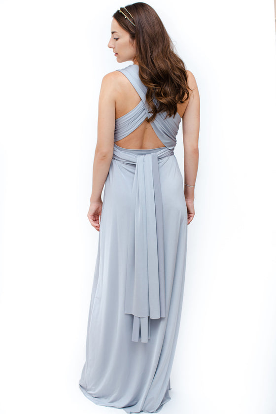 Back Image: silver floor length dress with convertible top. Brand Two Birds
