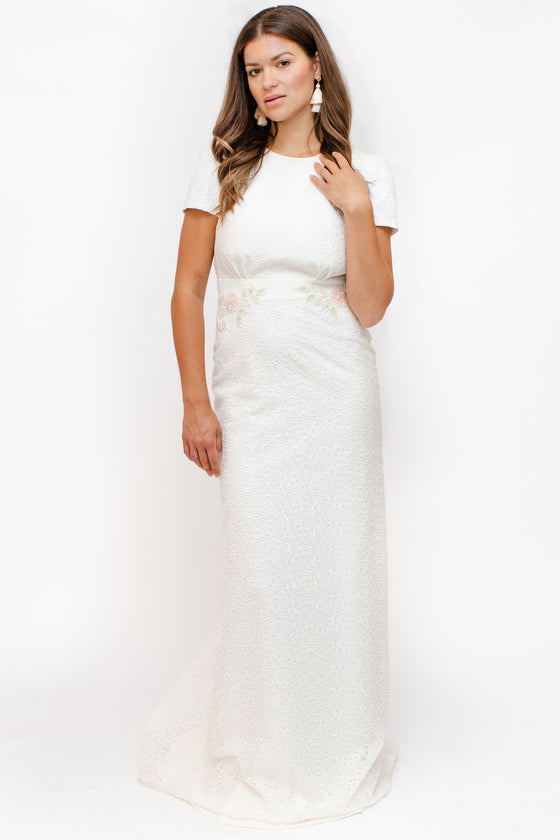 Front Image: high neck line, short sleeve wedding dress fitted and floor length. Brand Rembo