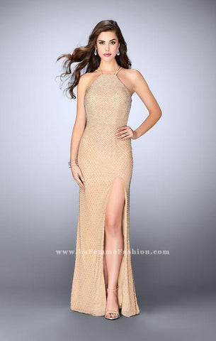 Jovani - Beaded Net Gown - Nude