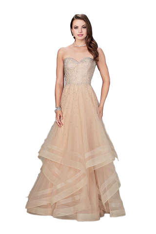 La Femme - Strapless Layered Gown - Nude