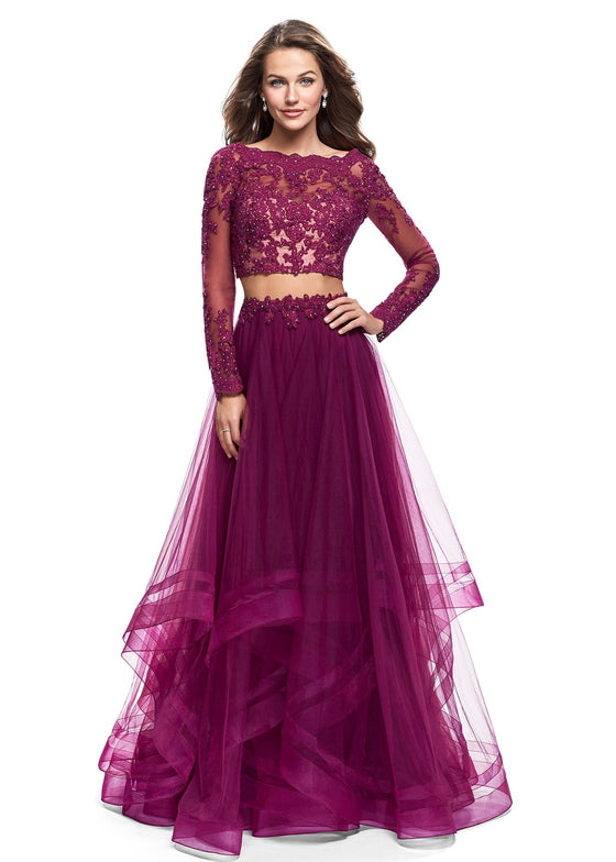 La Femme - Lace Layered Two Piece Set - Boysenberry
