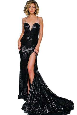 Jovani - High Slit Sequin Dress - Black