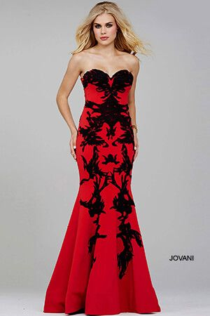 Jovani - Sweetheart Fit and Flare - Red/Black