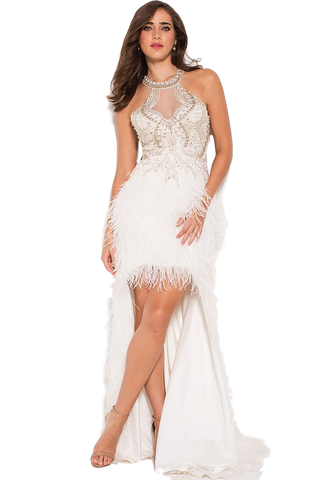 JVN - High Low Feather Gown - Blush