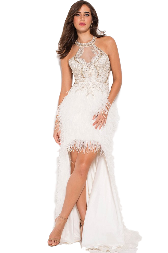 Jovani - High Low Feather Gown - Pink