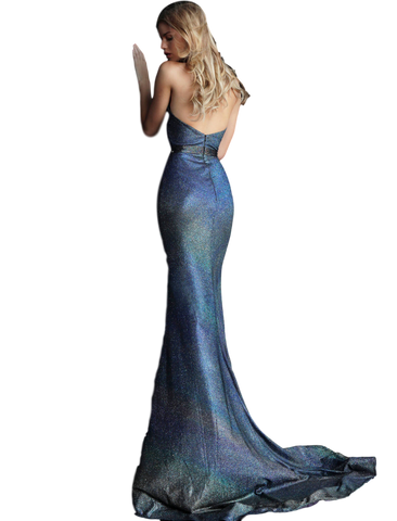 Jovani - Metallic Mermaid Gown - Gunmetal Tones