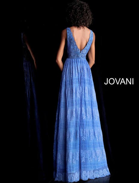 Jovani - Lace Scalloped V-neck - Blue