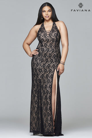 Faviana - Lace Illusion Gown - Black