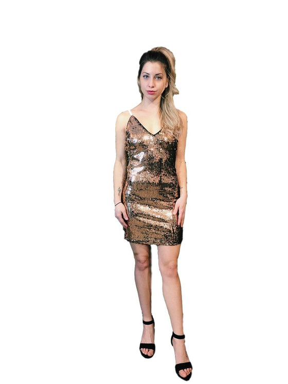 She + Sky - Glitter Fitted Dress - Copper + Black
