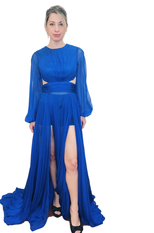 Johnathan Kayne - Long Sleeved Gown - Royal Blue