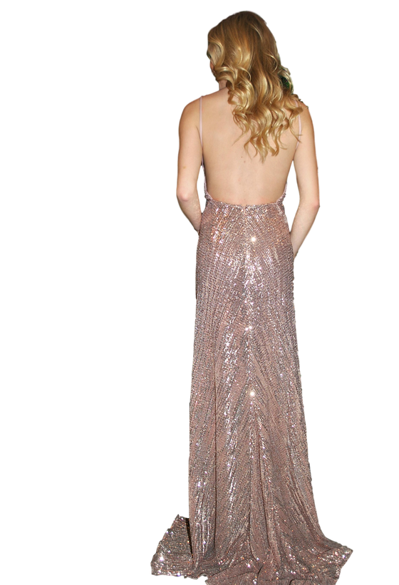 Abyss by Abby - Sequin Backless Gown - Rose Gold