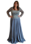 Terani - Embellished Gown with Sleeves - Gunmetal Grey