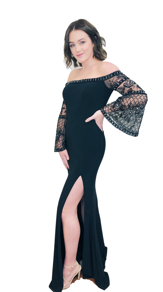 Faviana - Off the Shoulder Gown - Black
