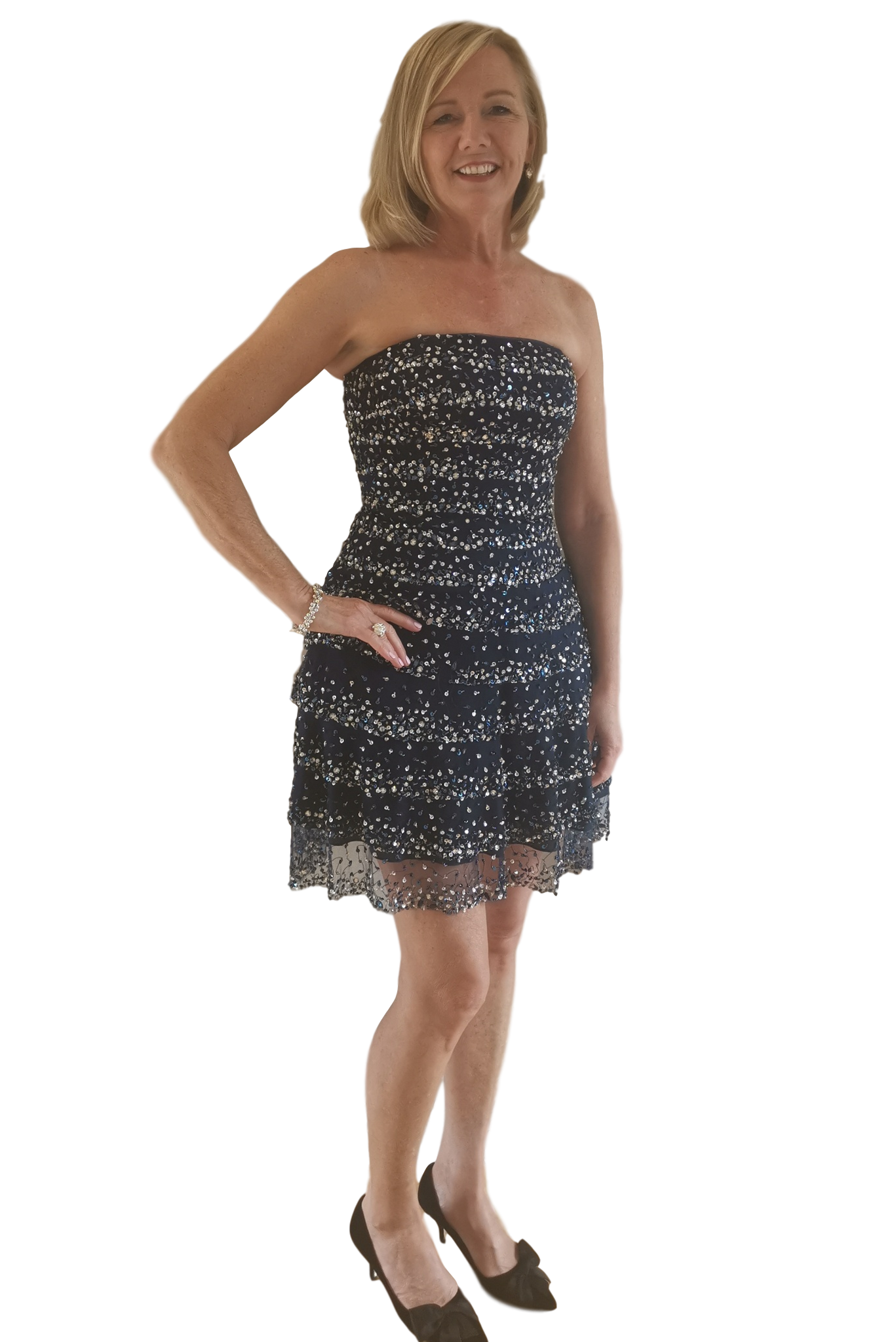 Terani - Tiered Strapless Cocktail Dress - Navy