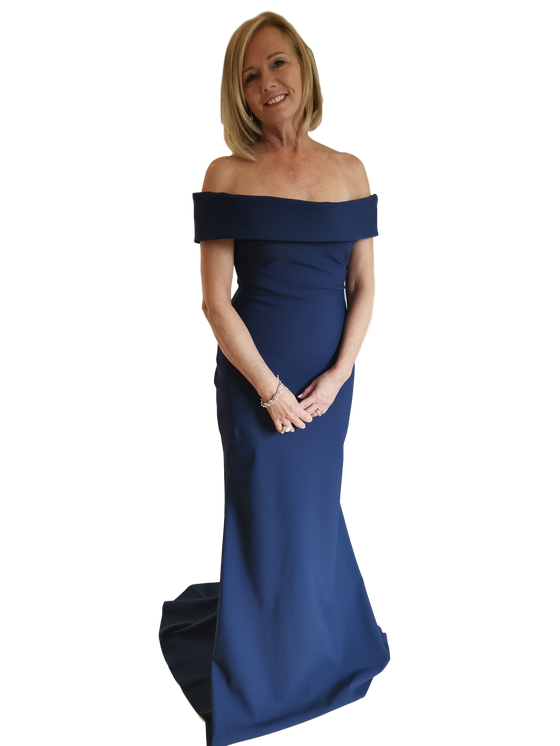 Tarik Ediz - Scuba Off the Shoulder Gown - Navy Blue