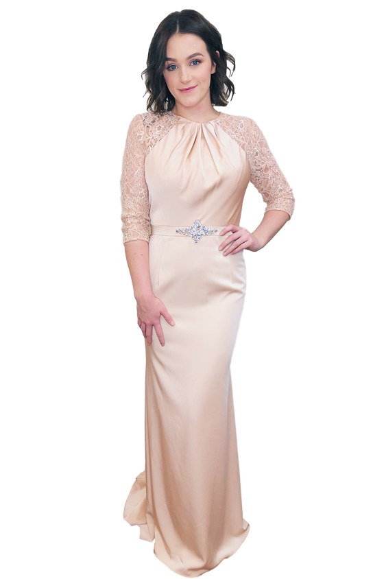 Alyce - Satin and Lace Gown - Blush
