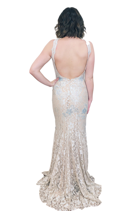 La Femme - Lace Backless Fit and Flare - Nude